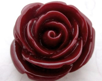 dark red resin flower flat back cabochon 34mm - r272