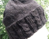 Knit Beanie, Mens Black Handknit Hat, Handmade Slouch Hat, Black Beanie, Unisex Wool Hat, Christmas Gift for Dad