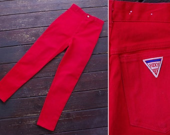 FOXY Lady 1970's 80's Vintage Bright RED High Waist Skinny Jeans with Tapered Ankles // by Foxy // size Small W26