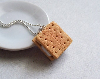 S'mores Pendant Necklace - polymer clay miniature food jewelry