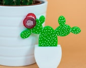 Prickly Pear Cactus statement Brooch succulent plants laser cut perspex cacti pin handmade in the UK