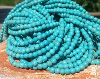 "4mm Blue Howlite Beads, Turquoise colored Beads, 4mm Bohemian Beads, Native American Beads, Cowgirl Beads, one 16"" strand"