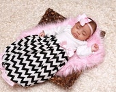 newborn infant custom layette baby girl gown ruffle bottom chevron pink shower gift coming hospital first pictures take home outfit diva