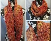 Knit Neck Warmer, Gaiter/Buff, Cowl, Shoulder Wrap, Embers of Autumn