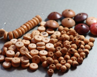 Wooden Beads Assortment Variety Mixed Lot Destash Natural Wood Beads Jewelry Making Beading Crafts
