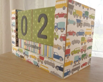 Perpetual Wooden Block Calendar - Cars Trucks and Busses