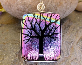 Dichroic Pendant - Hand Etched Tree Purple Magenta Rainbow Glass Art