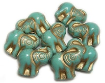 Czech Glass Beads 21x20mm Gold Washed Turquoise Elephant Beads 4pcs (A113) Czech Elephant Beads