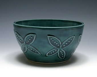 Teal Blue Bowl With Dotted Flowers