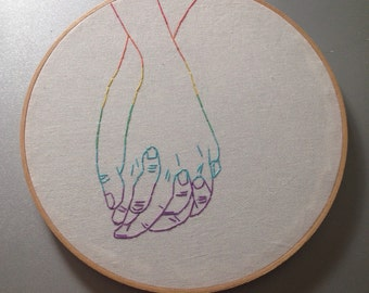 I wanna hold your hand - hand drawn and embroidered wall hanging