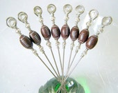Football Cocktail Appetizer Picks Stainless Steel Set of 8