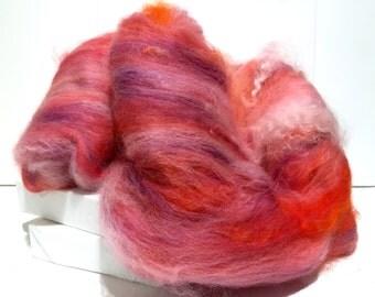 "fiber art batt, roving, nuno  needle felting, spinning fiber, ""Tickled Pink and Orange"", fuchsia,Pink, gold, light orange, violet"