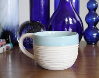 Blue Coffee Mug - Groove Mug in Cerulean Blue - Large Porcelain Mug - 14 Ounce Ceramic Mug - Pottery Mug
