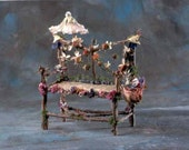 "Pretty fairy furniture, ""Afternoon at the Opera"", fairy love seat made from branches, flowers, antique fabric, moss, pods, and tendrils"