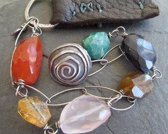 BOHO Silver Leather Bracelet Colorful Gemstone Funky Hippie Multi Strand Sundance Style Bracelet Wire Wrapped Multicolor Gemstone Bracelet