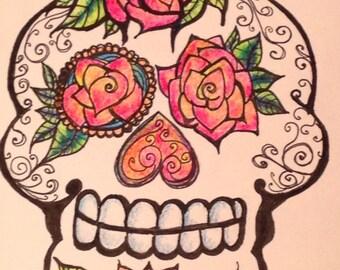 UV Reactive Black Light 6x6 Mixed Media Sugar Skull Illustration Day of the Dead Art by Candace Byington