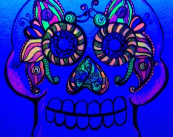 UV Reactive Black Light 6x6 Mixed Media Sugar Skull Butterfly Eyes Illustration Day of the Dead Art by Candace Byington