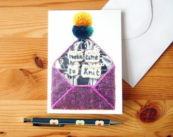 Greeting Card - Fun Knitting Card - Textile-Art Envelope - Digital Print - Anytime Card