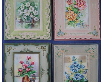 Set of Beautiful Vintage Greeting Cards