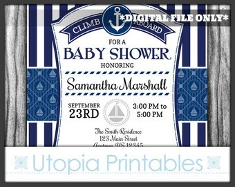 Navy Blue Nautical Baby Shower Invitation Party Stripes Striped Anchor Boat Sailboat Theme Digital Printable Customized 5x7