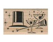 Wedding New Year's Eve Collage 1 1/4 x 2   rubber stamps place cards gifts  wood mounted 18033