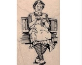 rubber stamp woman knitting bench crochet knit  art stamps original design by Mary Vogel Lozinak no 19691
