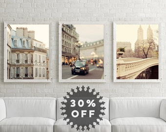 "SALE Urban Art Set, Travel Prints, Travel Photography, Paris, London, New York, Three Travel Posters, ""A Tale of Three Cities"""