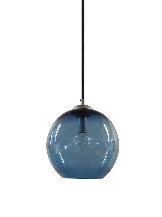 Steel BLUE Gumball Hand Blown Glass Pendant Lighting Bubble