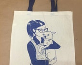Ponyo the Chihuahua tote bag in blue by Nicole J. Georges