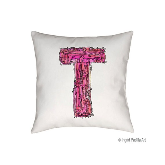 Whimsical, Letter, T, Pillow, pink, monogrammed pillow, Illustration, funky, typography, Alphabet, Art, Decor, fabric, Ingrid Padilla