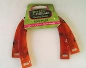 U shape purse handle set, orange amber plastic purse handles