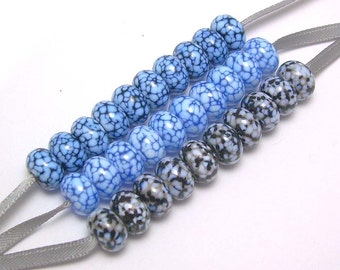 Handmade Lampwork Glass Mini Bead Collection in Black, White, Grey, and Hues of Blue - 3 sets of 10 beads