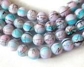 Aqua Beads, Lavender Beads, Pink Beads, Splattered in Black 10mm Glass Beads