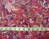 4 Fat Quarters Red Paisley, Cotton Fabric for Quilting, Paisley Print FQ, Sewing Fabric, FQ Bundle, Quilting, Cotton Fabric, Sewing Quilting