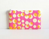 Medium Zipper Pouch, Makeup Bag, Cosmetic Case, Women and Teens, Fuchsia Martini Amy Butler