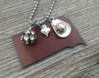 I love SOUTH DAKOTA necklace | Rustic State Shape Rhinestones Charms | Pickup Truck Cowboy Boot Hat Gun Cross
