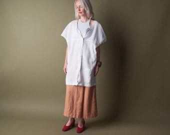 clemente white cotton gauze blouse / oversized tunic / minimalist top / s / 966t