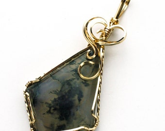Swirls and Curls 14K Gold Filled Moss Agate Cabochon Crossed Heart Pendant
