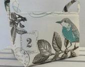 Fabric Organizer Storage Container Bin Basket Diaper Caddy Nursery Decor - Birds on Cream