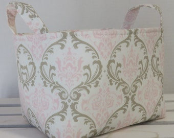 Fabric Organizer Storage Container Bin Basket Diaper Caddy Nursery Decor - Light Pink Taupe White Damask