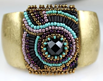 Antique Gold Beaded Cuff - Antique Look Embroidered Bracelet with Purple, Turquoise & Black Beads