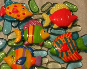 9 Ceramic fish MOSAIC or MAGNETS or KNOBS hand painted high gloss