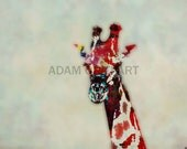 Giraffe printable download poster africa wild nature childrens colourful print download pop art