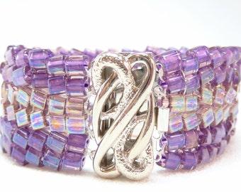 Violet Luster Beadwoven Cuff Bracelet