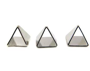 Tiny Rhodium Plated Pyramid Triangle Tube Charms (6x) (K106-B)