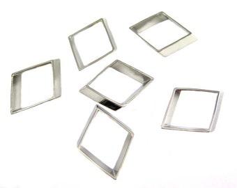 Rhodium Plated Geometric Diamond Charms (4x) (K107-B)