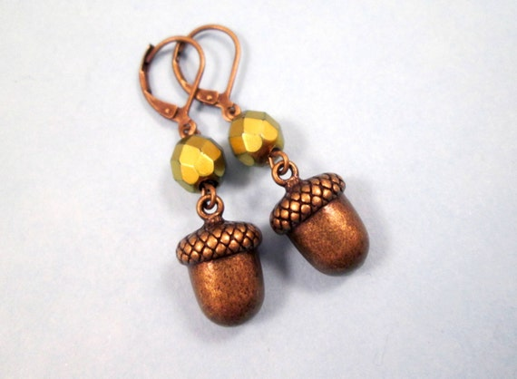 Acorn Earrings, Fall Woodland Style, Metallic Green and Brass Dangle Earrings, FREE Shipping U.S.
