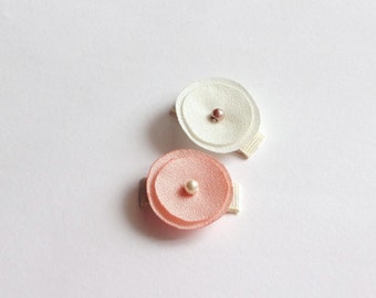 Set of 2 Ivory and Apricot Poppies Baby Snap Hair Clips