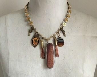 Weapon Statement Necklace, Charm Necklace,Pocketknife Necklace, Bullet Necklace, Backstabber Necklace, Survivalist Necklace