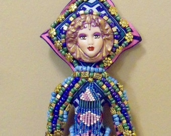 SALE Ooak Kathleen Beaded Fantasy cloth art Doll 10 1/4 in. tall